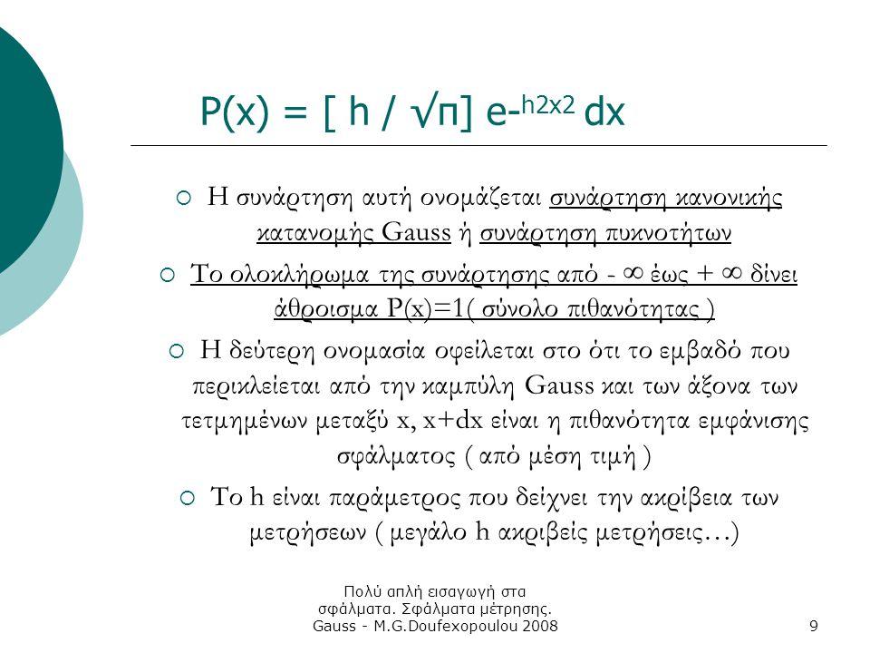 P(x) = [ h / √π] e-h2x2 dx Η συνάρτηση αυτή ονομάζεται συνάρτηση κανονικής κατανομής Gauss ή συνάρτηση πυκνοτήτων.